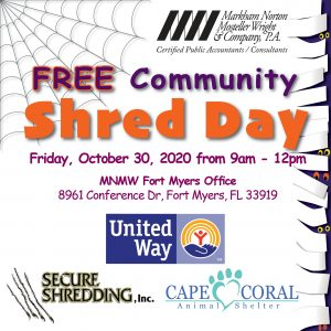 MNMW Annual FREE Community Shred Day Event @ Markham Norton Mosteller Wright & Company, P.A. - Fort Myers  |  |  |